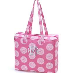 Monogrammed tote bag in pink maddie or aqua maddie. Personalize toe bag with name or