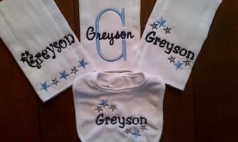 Canyons page monogrammed baby gifts free monogram or full name embroidered in your choice of colors negle Image collections